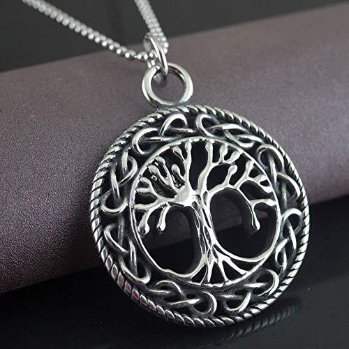 Collar de Acero Inoxidable Vikingo Yggdrasil, Amuleto Colgante de Moneda del árbol de la Vida Celta Medieval Hecho a Mano de la mitología nórdica, Regalos para Hombres y Mujeres.