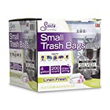 Color Scents Small Trash Bags - 4 Gallon, 200 Total Bags (1 Pack of 200 Count), Drawstring - Silver Bag in Linen Fresh Scent