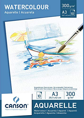 Canson 200005790 - Bloc de papel para acuarela (A3, 29.7 x 42 cm, 300 gsm), color blanco, 10 hojas