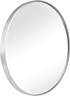 "SHIGAKEN 15.7"" Small Round Mirror, Brushed Metal Frame, Wall-Mounted Mirror, Wall Decor, for Bedroom, Bathroom, Living Room, Entryway, Aluminum Alloy -Silver"