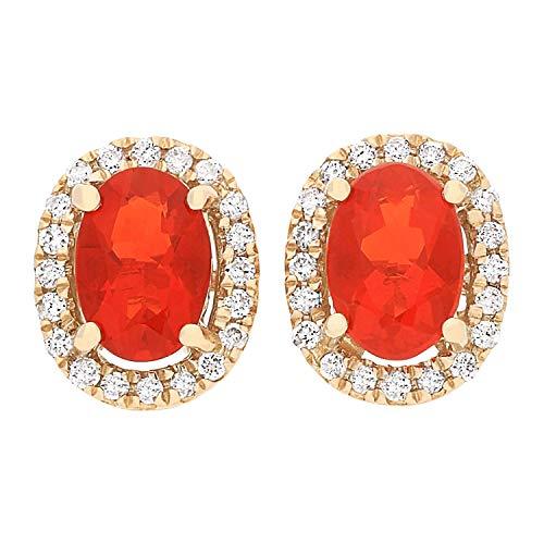 Gin & Grace 14 k oro amarillo mexicana Fuego Natural Opal diamante pendiente del perno (SI1) para la Mujer
