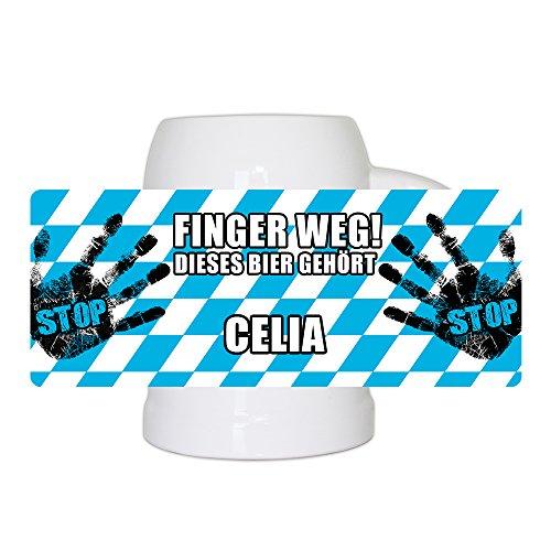 Lustiger Bierkrug mit Namen Celia und schönem Motiv Finger weg! Dieses Bier gehört Celia | Bier-Humpen | Bier-Seidel