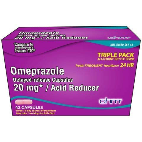 OHM Omeprazole Delayed-Release Capsules, Treats Frequent Heartburn, 24hrs, 20mg Acid Reducer, 42 Capsules
