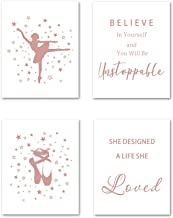 Inspirational Lettering Quote Rose Gold Foil Print, Ballerina Dancing Cardstock Art Print Ballet Shoes with Stars Wall Art Poster for Girls Room Women Bedroom Decor (Set of Four, 8x10 inch, UNFRAMED)