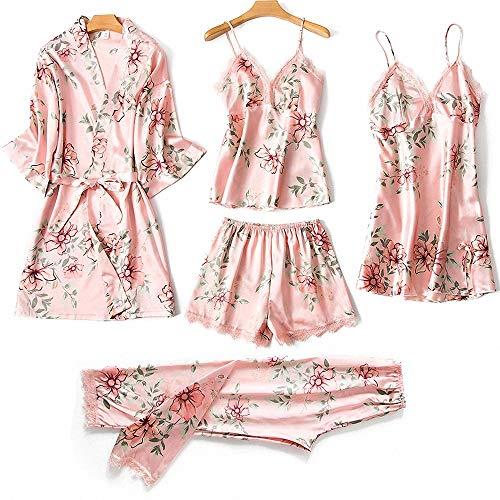 5 Piezas Pijama Sexy para Mujer Conjuntos sedosos Seda satén Encaje Ropa de Dormir Vestido Bata Pantalones Cortos y Pantalones Ropa de casa satén Elegante camisón