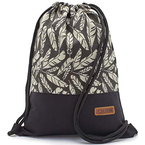 By Bers LEON Turnbeutel mit Innentaschen in Schwarz-Weiß Rucksack Tasche Damen Herren & Teenager Gym Bag Draw String (Feder_SW)