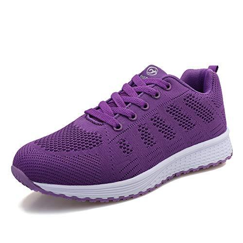 ANBIWANGLUO Baskets pour Femmes Chaussures de Course athlétiques Chaussures de Marche à Lacets Chaussures de Sport en Plein air Respirantes pour Le Jogging Violet 40 EU