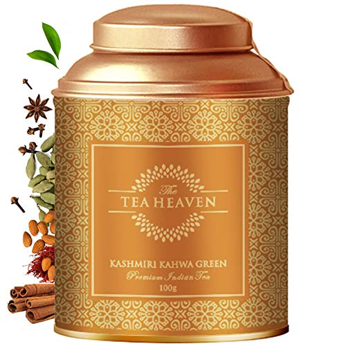 The Tea Heaven- Kashmiri Kahwa  100 Grams   Tea Gift Pack-Blended with Saffron, Almonds, Spices -100 % Natural Ingredients - Ethnic