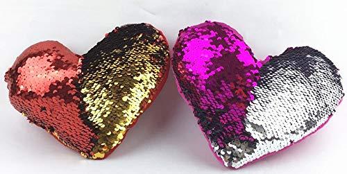 ML Pack de 2 Cojines Peluche de Lentejuelas de Formas de Corazon Color Rojo 35cm de Ancho para Decorar tu habitación Cama Sofa
