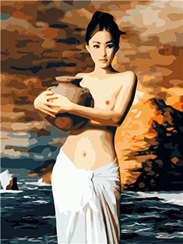 Diy Digital Oil Painting - Painting By Numbers Sexy Pottery Girl Pintura Acrílica Niños Adultos Regalo De Navidad Con Marco 40x50cm