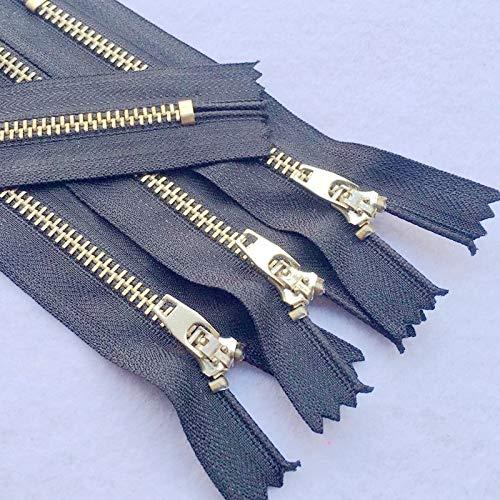 LIHAITAO Metalen Rits 2 Stks 3# 10 cm Naaien Auto Lock Zwart DIY Rits voor Naaien Jeans Schoeisel Denim Rok