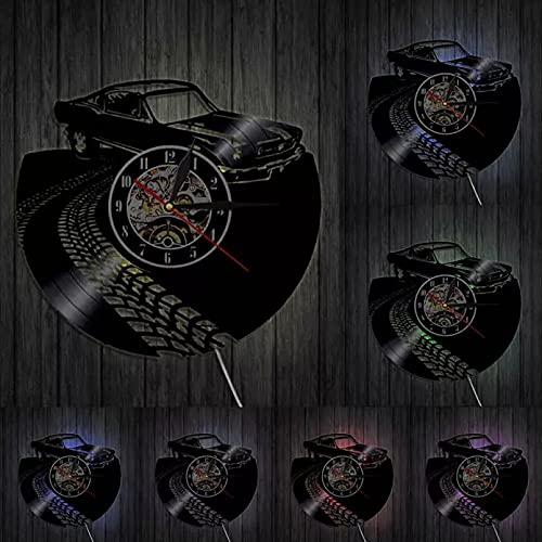mbbvv Arte de la Pared del Coche Relojes de Pared Decorativos Reloj de Pared con Disco de Vinilo Retro Relojes Hechos a Mano Relojes Regalos de inauguración de la casa para jóvenes