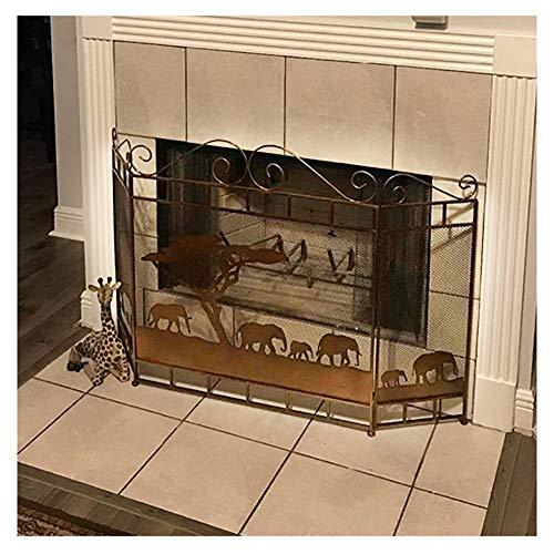 ZJM Fireplace Spark Protection Well Balanced Fireplace Screen, Light Brown  Fireplace Screen Metal Mesh Screen Curtain, Well Constructed and Study