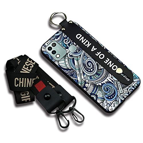 Funda de teléfono para mujer Lulumi compatible con infinix Hot 10 Play, correa para el cuello, soporte flexible a prueba de golpes de silicona elegante diseño suave, azul Uno de un tipo graffiti