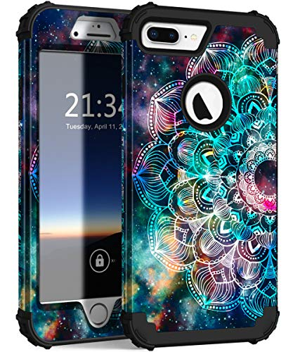 Hocase iPhone 8 Plus Case, iPhone 7 Plus Case, Heavy Duty Shockproof Protection Hard Plastic+Silicone Rubber Hybrid Protective Case for iPhone 7 Plus/iPhone 8 Plus - Mandala in Galaxy