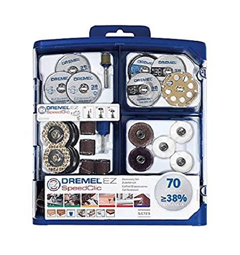 Dremel SC725 EZ SpeedClic Mehrzweck Zubehörset (70 Zubehörteile zum Schleifen, Schneiden, Schärfen, Polieren, Reinigen, Gravieren, Schnitten)