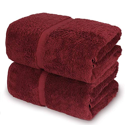 Towel Bazaar 100% Turkish Cotton Bath Sheets, 700 GSM, 35 x 70 Inch, Eco-Friendly (2 Pack, Cranberry)