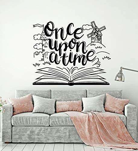 Calcomanías de pared libro de cuentos antiguos biblioteca sala de lectura para niños decoración de interiores puertas y ventanas pegatinas de vinilo papel tapiz artístico