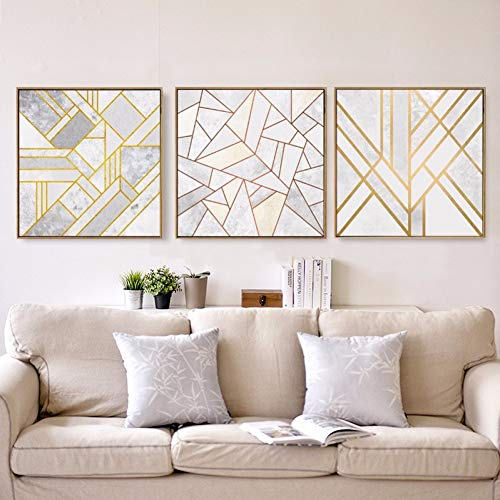 LWLNB Dekorative Gemälde Wanddekoration Bilder Wandkunst Grau Gold Rot Geometrische Hipster Poster Leinwand Gedruckt Moderne Malerei Home Office Schlafzimmer Mode Dekor