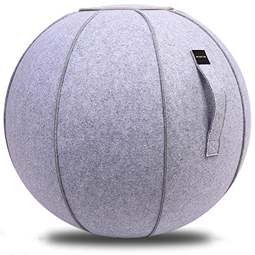XGYLVFEI 65cmSittingBallChairforOffice,Dorm,and Home,Pilates Exercise YogaBallwithCover, Lightweight Self-Standing Ergonomic Posture Activating Exercise Ball Solution with Handle and Pump (Gray)