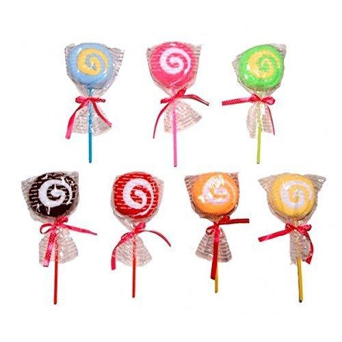 Lote de 28 Toallas Piruleta en Bolsita de Regalo - Toallas, Toallitas en formas de Pasteles, Pastelitos, Cupcakes. Detalles de Comuniones, Bodas, Bautizos Originales
