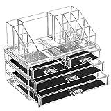 SONGMICS Organizador de Maquillaje, Estuche de Cosméticos con 4 Cajones y 16 Compartimentos de...