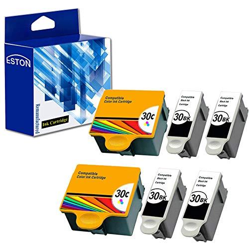ESTON Compatible Replacement for Kodak 30xl Ink Printer Cartridges 6 Pack (Black Tri-color) Combo Set for ESP 310 C315 2150 2170 Hero 3.1 5.1