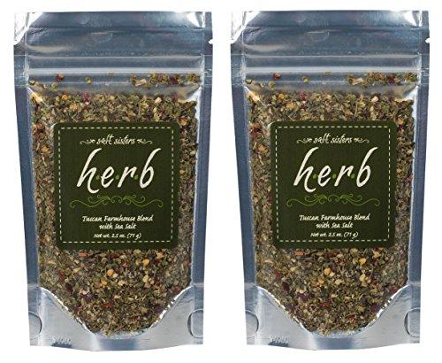 Salt Sisters Gourmet Seasoning Mix, Flavor Tuscan Farmhouse Blend, 2.5 Ounces, 2 Pack