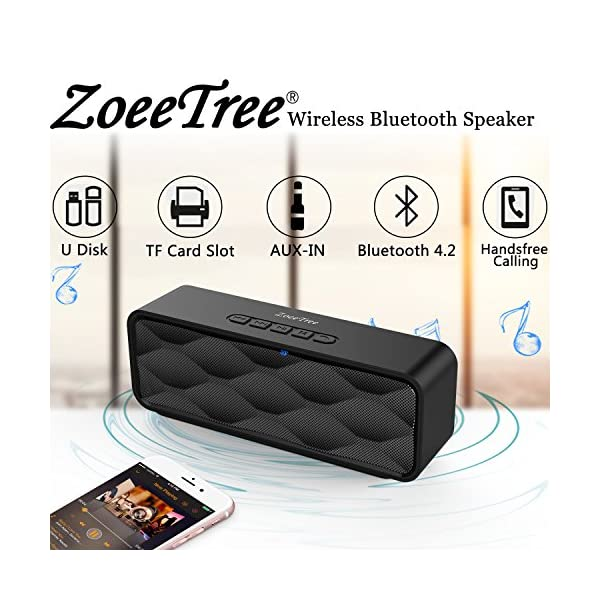 Wireless Bluetooth Speaker, Outdoor Portable Stereo Speaker with HD Audio and Enhanced Bass, Built-in Dual Driver Speakerphone, Bluetooth 4.2, Handsfree Calling, TF Card Slot - Black 6