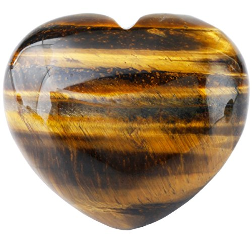 mookaitedecor Healing Crystals Heart Love Worry Palm Stone Reiki Balancing 1.6 inches,Tiger's Eye