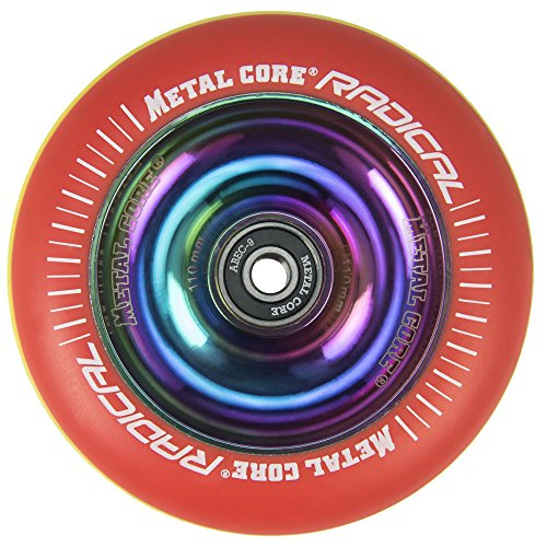 Metal Core Rueda Radical Rainbow para Scooter Freestyle, Diámetro 110 mm (Rasta)