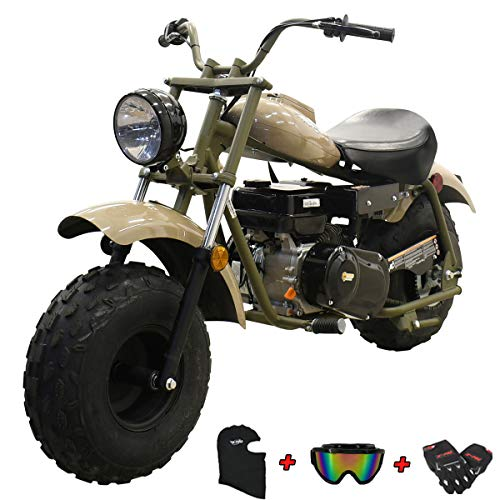 "X-PRO Supersized 196CC Youth Mini bike Gas Powered Mini Trail Bike Scooter Carb approved mini motorcyle,19"" Wide Fat Balanced Tires! Big headlight!(Quicksand)"