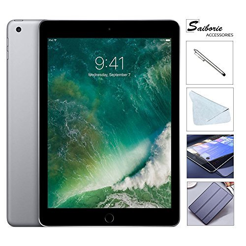 Apple iPad 9.7 Retina Display with Saiborie 49 Value Bundle, 2017 5th Gen 32GB, M9, Wi-Fi, MIMO, Bluetooth, Apple iOS 10 (32GB, Space Gray)