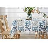 FXBNHDFMF Mantel Estampado de algodón y Lino, Mantel Hecho a Mano con borlas, Mantel Rectangular para Mesa de Centro para el hogar (tamaño: 60x60cm, Color: Azul)
