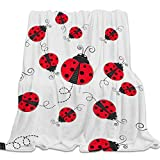 Singingin Ultra Soft Flannel Fleece Bed Blanket White Background Red Ladybug Throw Blanket All Season Warm Fuzzy Light Weight Cozy Plush Blankets for Living Room/Bedroom 40 x 50 inches