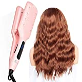 SKEY Hair Crimper - Water Wave Curling Iron Hair Waver, 19mm Triple Barrel Hair Curler Curling Wand,Double Ceramic Curling Tong for All Hair Type