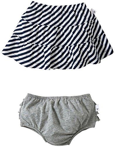 Burt's Bees Baby Baby Girls' Striped Skirt w/Diaper Cover (Baby) - Grey - 6-9 Months