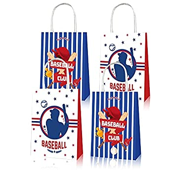U/B 12 Packs of baseball Paper Bag Theme Party Gift Bag Birthday Gift Bag Snack Candy Bag Childrens Party Supplies