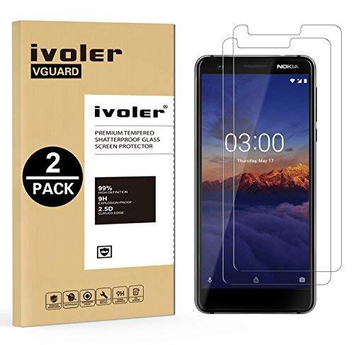 ivoler [2 Stücke] Panzerglas Schutzfolie für Nokia 3.1 [9H Festigkeit] [Anti- Kratzer] [Bläschenfrei] [2.5D R&e Kante]