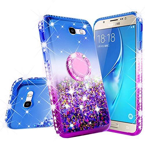 Galaxy J3 Mission/J3 Luna Pro/J3 Prime/J3 Eclipse/J3 Emerge/Express Prime 2/Amp Prime 2/Sol 2 Liquid Glitter Ring Bling Phone Case Kickstand Compatible for Samsung Galaxy J3 2017 (Blue/Purple)