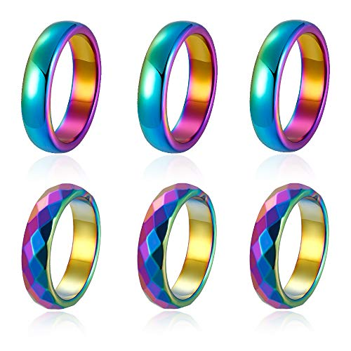 BOMAIL 6Pcs Hematite Rings Rainbow Hematite Stone Ring for Women Men Anxiety Balance Root Chakra Aabsorbs Negative Energ Ring (6mm Section/Arc)