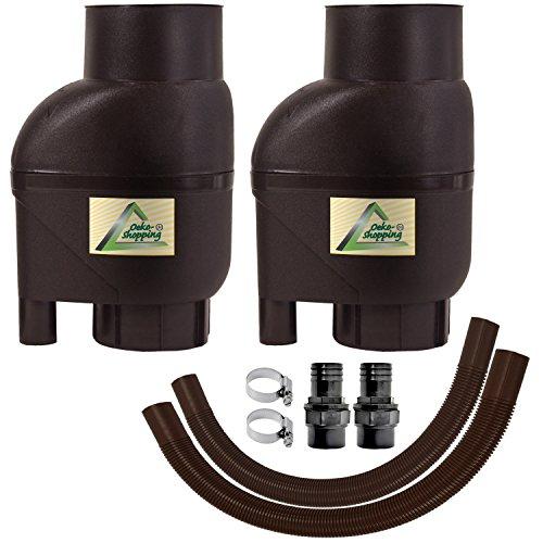 Fallrohrfilter Regensammler T33 braun / grau - Der Regenwasser-Filter für Regentonnen mit bis zu 95% Wirkungsgrad mit Anschlusszubehör und Universalanschluss für alle Fallrohre 75-110mm (2 Stk. Braun)
