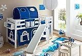 Hochbett mit Rutsche Podestbett Tino Buche massiv Weiss teilbar mit Farbauswahl, Vorhangstoff:Blau Weiss