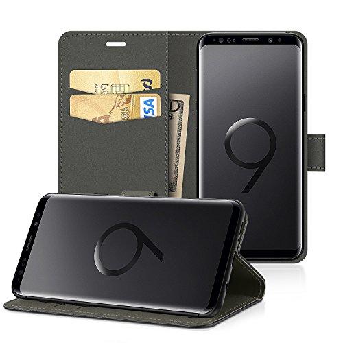 EasyAcc Hülle Case für Samsung Galaxy S9, Lederhülle PU Leder Flip Tasche Klappbar Schutzhülle Handyhülle mit [Ständer Funktion] Card Holder Kunstleder Cover Kompatibel mit Samsung Galaxy S9 - Schwarz