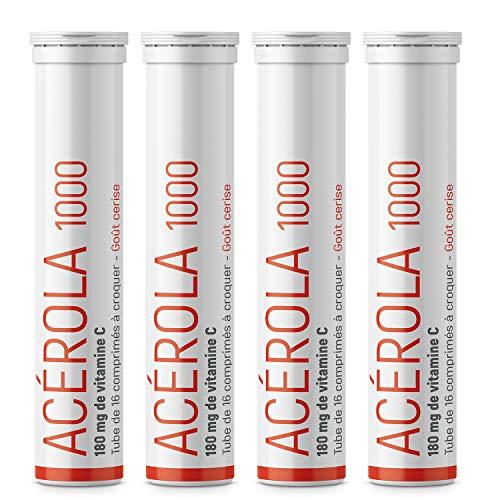 Acérola 1000 Lot de 4 | Vitamine C au Naturel Goût Cerise | Renforce les Défenses Naturelles | Origine France