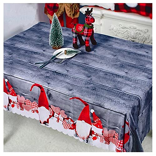 150*180cm Tovaglia Natalizia Babbo Natale Poliestere Riutilizzabile Decorazione Tovaglie per Festa Natale Vacanza Addobbi per Tavola Cucina Casa