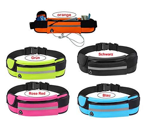 XINYA BAO - Bolsa para correr con bandas reflectantes, resistente al agua y al sudor, gran capacidad, para exterior, botella de agua y teléfono móvil, bolsa de cinturón rosa