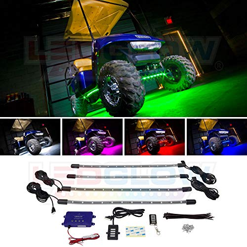 LEDGlow 4pc Standard Million Color LED Golf Cart Underglow Accent Neon Lighting Kit for EZGO Yamaha Club Car - Water Resistant Flexible Tubes - Previous Model