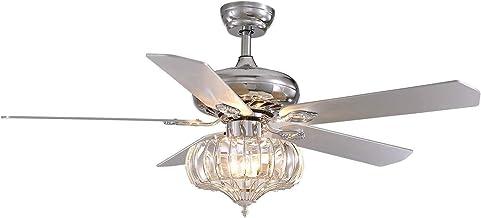 48 inch omkeerbare bladen plafondventilatoren met lichten en afgelegen, moderne kroonluchter fan elegante indoor crystal f...
