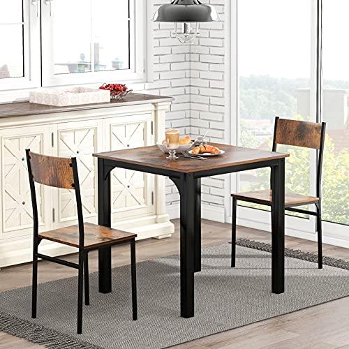 Azkoeesy Sitzgruppe, Esszimmergruppe Esstisch mit 2 Stühlen, für Balkon & Esszimmer & Wohnzimmer (Vintagebraun 1 Tisch mit 2 Stühle)